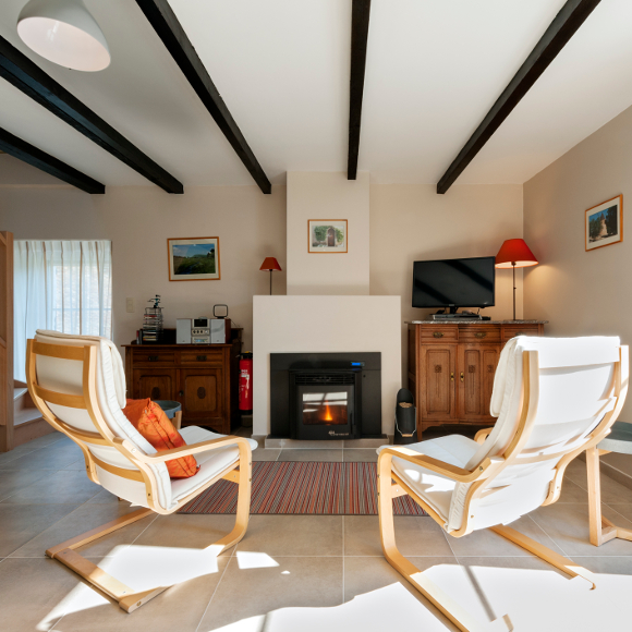 a sitting room with pellet stove